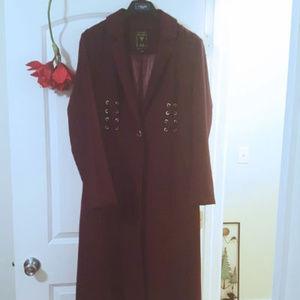 Guess Midi Coat Aubergine Dark Plum Grommits